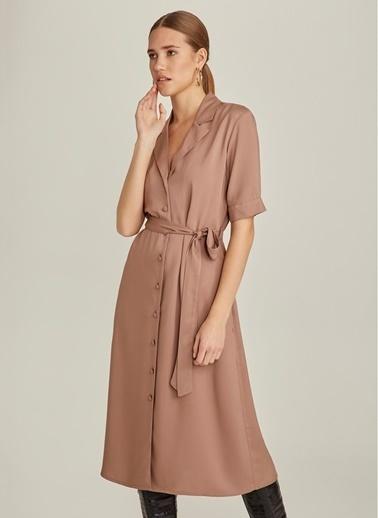 NGSTYLE Midi Gömlek Elbise Camel
